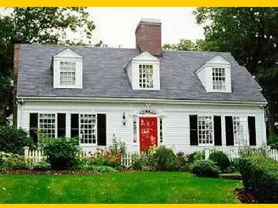 white cape cod style home with black shutters - Google Search