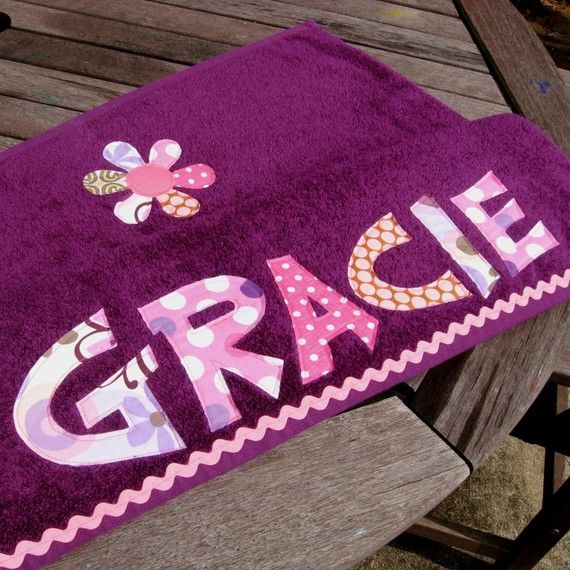Personalized Appliqued Beach Towel purple by easyedges on Etsy, $30.00