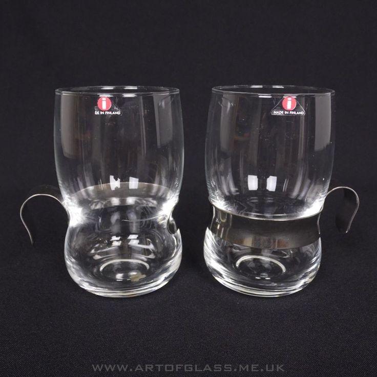 Iittala pair of Paula glass mugs with steel holders