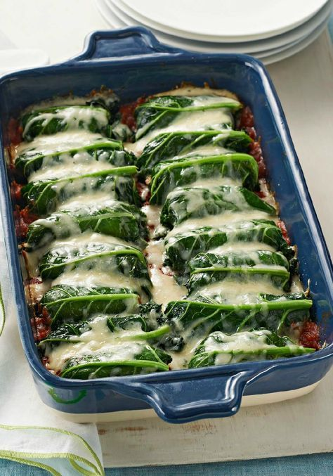 """Kale """"Cannelloni"""" – Even those who aren't a fan of kale will request this cannelloni-esque dish—where the leafy greens are stuffed with a saucy mixture of ground beef and melty mozzarella cheese."""