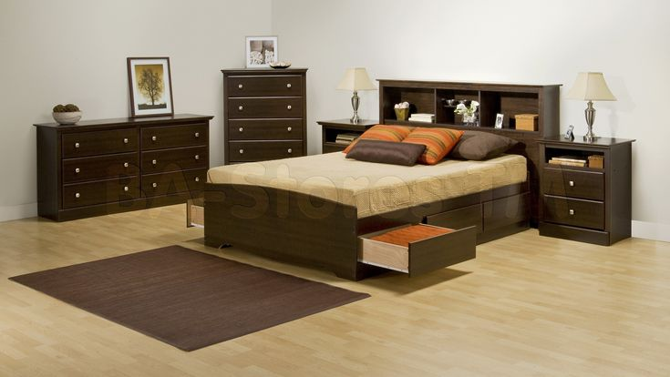 Prepac Fremont 4 PC Double Size Bedroom Set with Tall Nightstands in Espresso (Bed, Two Nightstands and Dresser)