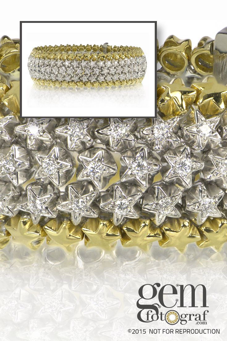 135 Diamonds, F/VS1!!!  The combination of 18kt yellow gold and brilliant diamonds in a star shape is visually stunning and a one-of-a-kind bracelet.