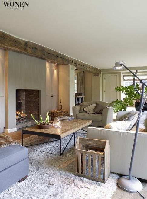 de balk aan plafond, de openhaard, de ingebouwde kast