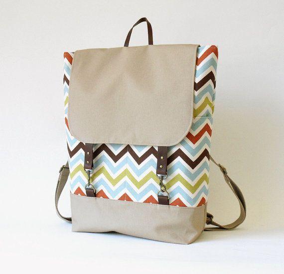 Multi color zigzag  Backpack  laptop bag diaper bag by BagyBag