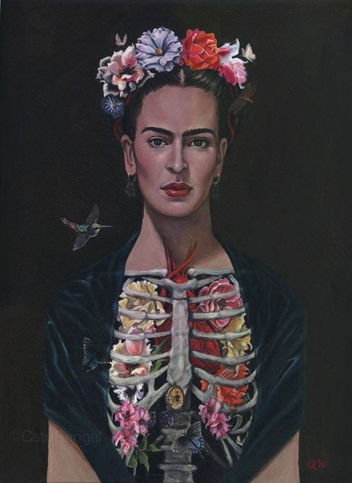 Observe this modern and beautiful depiction by artist Cate Rangel (Portrait of Frida Kahlo / Acrylic on Panel).