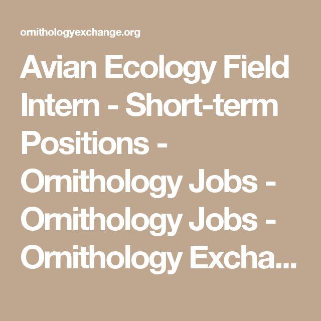 Avian Ecology Field Intern - Short-term Positions - Ornithology Jobs - Ornithology Jobs - Ornithology Exchange