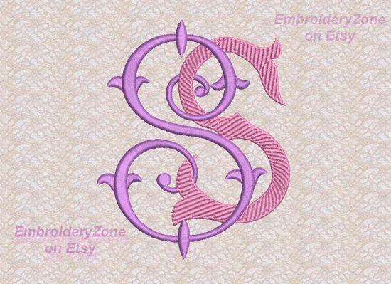 Doppi monogrammi antichi da vecchi libri S & S. di EmbroideryZone