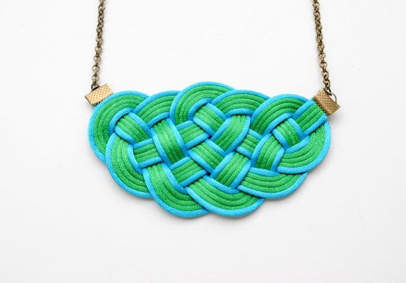 Big knot necklace green and turquoise nautical by elfinadesign