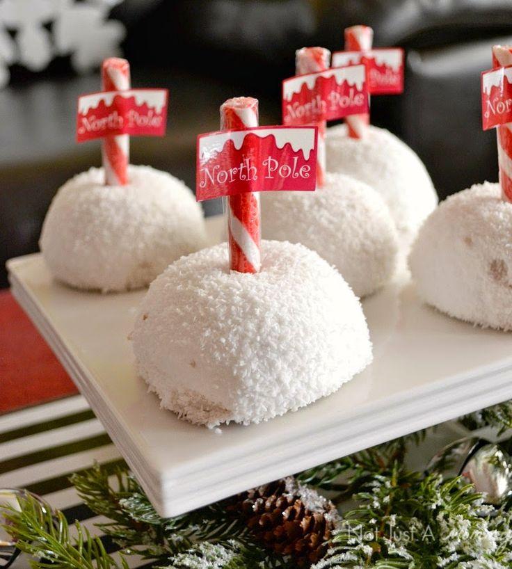 Holiday With Hostess Snacks table North Pole treats made with Sno Balls #HostessHoliday #spon