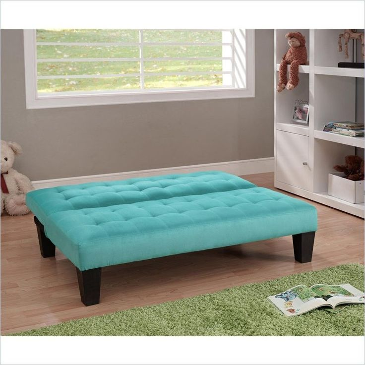 Kids teens futon sofa bed recliner in teal blue green for Sofa bed kids room