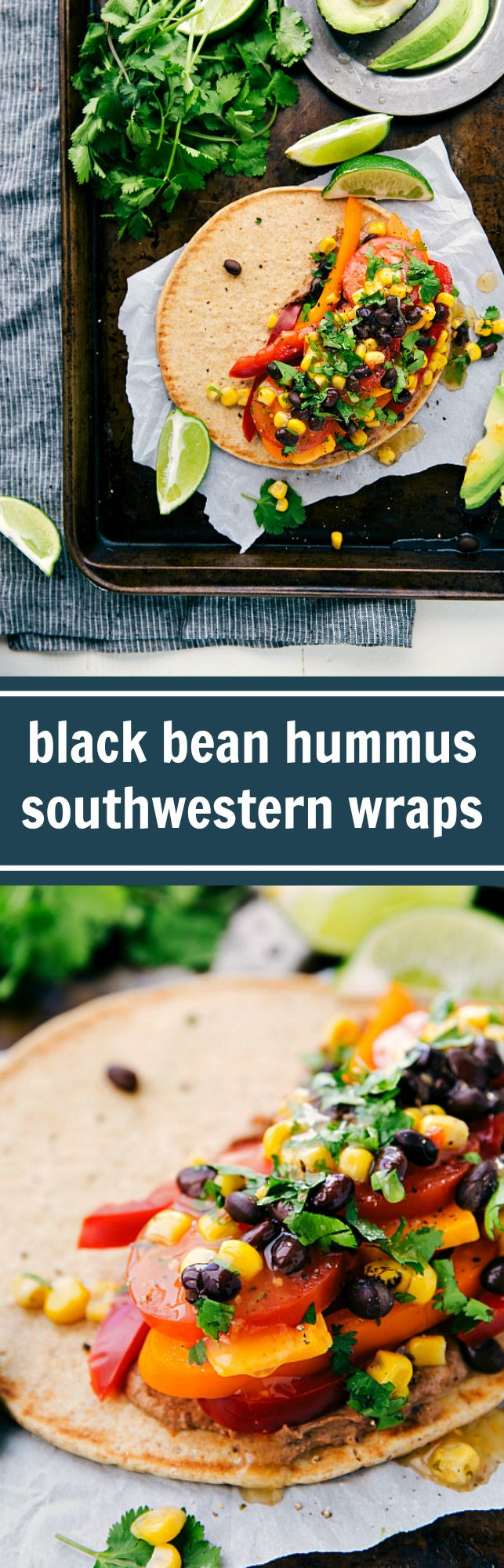 Southwestern Veggie Hummus Wraps NEW RECIPE!! Simple 10-minute Southwestern Hummus and Veggie Wraps. No meat and I promise you won't miss it! #HummusMadeEasy #ad