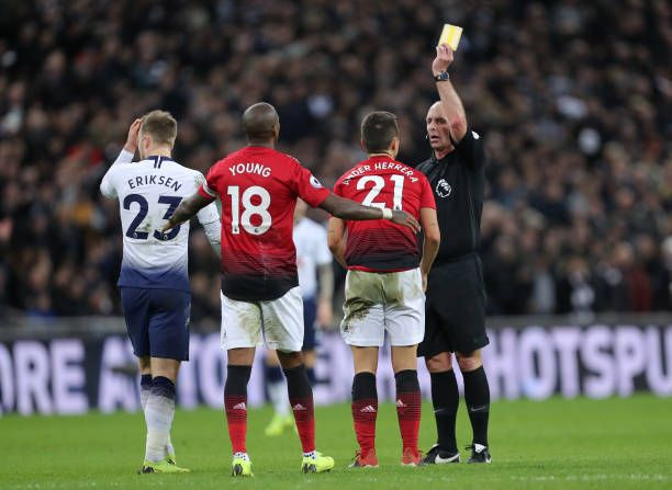 Ander Herrera Of Manchester United Is Shown A Yellow Card By Referee Manchester United Manchester Premier League Matches