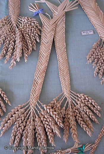 """corn dolly several examples of corn dollies (traditionally in the UK """"corn"""" meant grain - so wheat or rye etc)"""