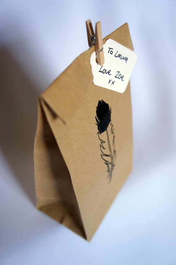 10 Hand Stamped Eagle Feather Kraft Flat Bottom Paper Bags