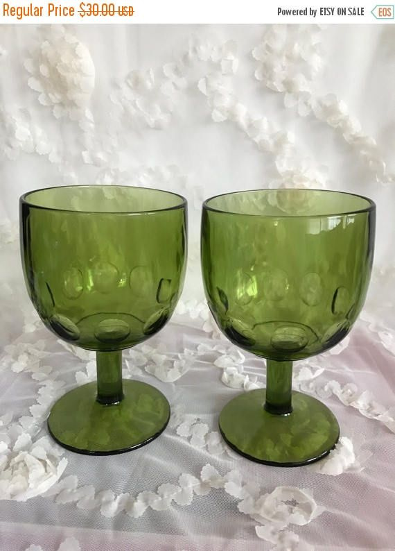 SALE Vintage Set of 2 Large Wine Glasses, Pair Olive Green Glass Goblets, Thumbprint Design Pedestal Wide Bowl Drinking Cup Collectible Drin by LaSuzanaMaison on Etsy https://www.etsy.com/listing/505388607/sale-vintage-set-of-2-large-wine-glasses