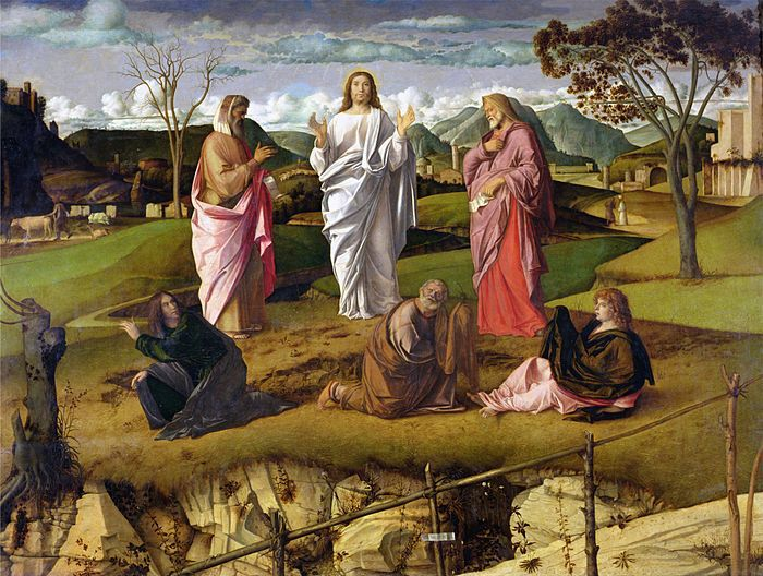 """GIOVANNI BELLINI."""" Trasfigurazione di Cristo"""".olio su tavola . 116x154 cm. 1478-1479 circa. museo nazionale di Capodimonte, Napoli."""