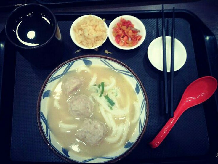 Marugame Udon Taman Anggrek with meatball. Ohmy!!