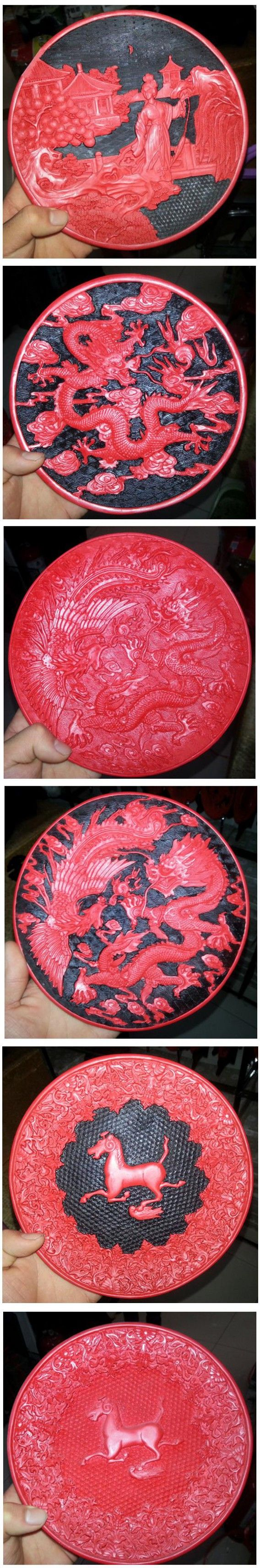 Dragon Plate Home Decoration Chinese Retro Fashion Handmade Red Carved Lacquerware Exquisite $43.8