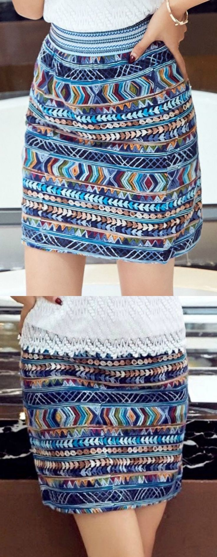 Blue Tribal Embroidery Skirt is now available at $36 from Pasaboho. Fashion trend and styles from hippie chic, modern vintage, gypsy style, boho chic, hmong ethnic, street style, geometric and floral outfits. We Love boho style and embroidery stitches. Hippie girls with free spirit sharing woman outfit ideas and bohemian clothes, cute dresses and skirts. This skirt exhibit beautiful tribal style embroidery patterns.