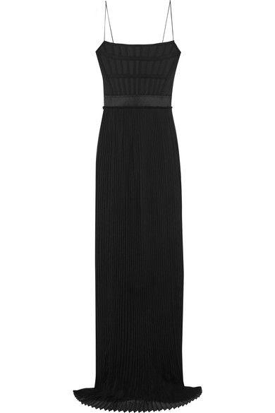 Stella McCartney - Grosgrain-trimmed Twill And Pleated Silk-chiffon Gown - Black - IT38
