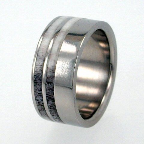 Mens Titanium Ring with  Deer Antler Inlays - Perfect Wedding Band IR, Ring Armor Included