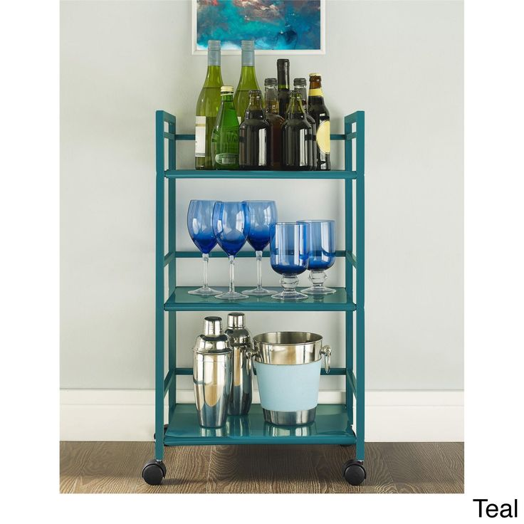 This utility cart is made of sturdy metal in a powder-coat finish that looks great in any space. Wheels provide easy mobility throughout the room or your home, while the three shelves provide room for virtually any items that you need easy access to.  29.92 inches high x 16.85 inches wide x 11.42 inches deep