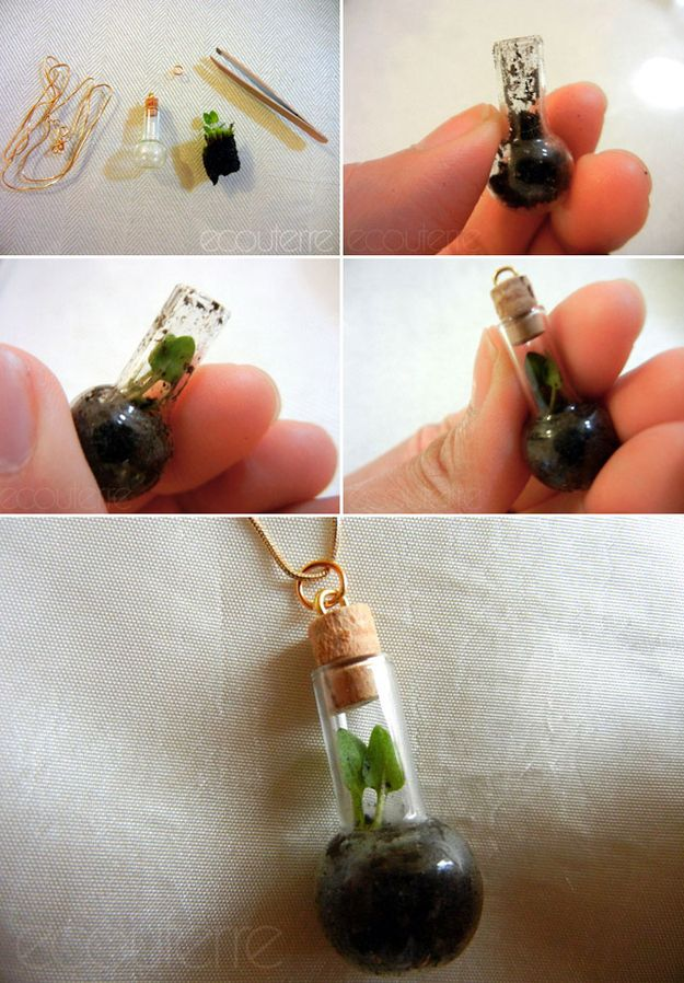 Terrarium Necklace | 21 Simple Ideas For Adorable DIY Terrariums