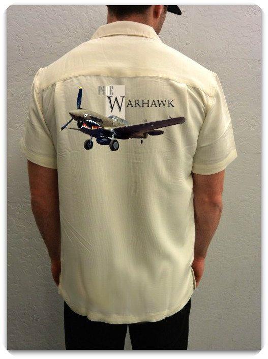 Men's Airplane Shirt P-40 Warhawk World War II by SpokeNwheelz
