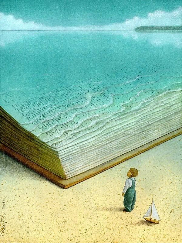 He watched with amazement as the ocean waves gradually receded, revealing the pages of a giant book....