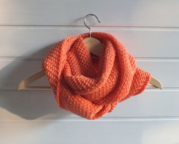 """"""" Salmon """" hand knitted infinity loop scarf"""