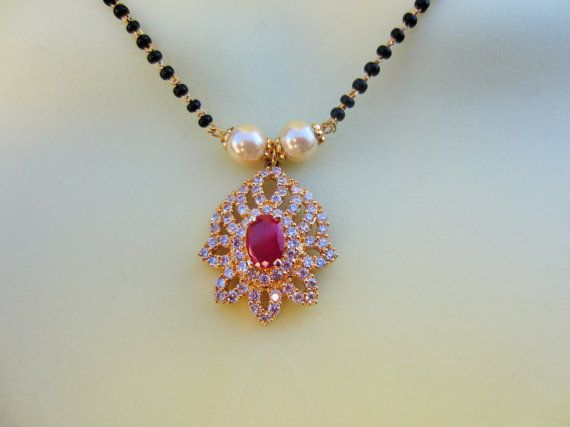 On Sale Ruby and CZ Pendant Mangalsutra CZ Mangalsutra by Alankaar