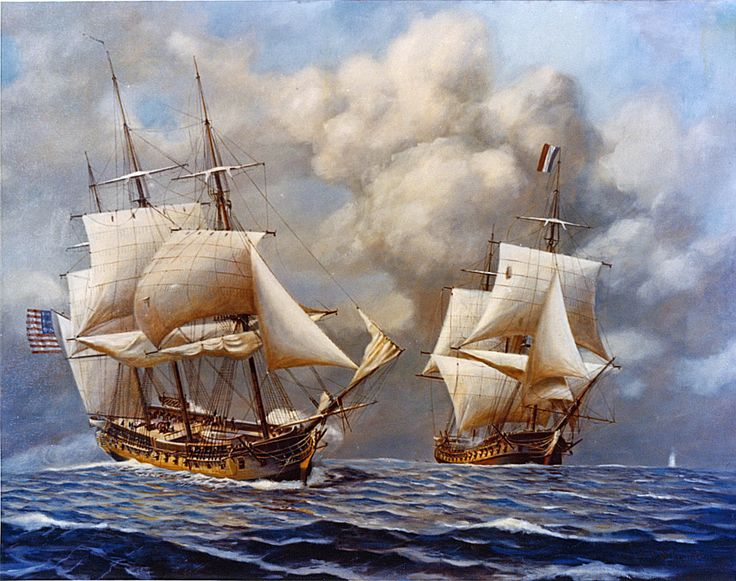 Quasi-War-- (French: Quasi-guerre) was an undeclared war fought almost entirely at sea between the US of America and the French Republic from 1798 to 1800. After the toppling of the French crown during the French Revolutionary Wars, the United States refused to continue repaying its debt to France on the grounds that it had been owed to a previous regime. French outrage led to a series of attacks on American shipping, ultimately leading to retaliation from the Americans