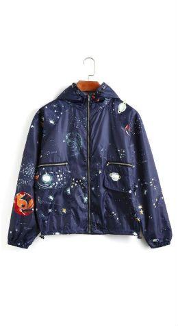 Galaxy Print Hooded Windbreaker Jacket - Cadetblue L