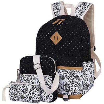 Schulrucksack Set Canvas Rucksack Mädchen/Damen, Rucksack Schule/Schulranzen + Schultertasche/Messenger Bag + Mäppchen/Purse (Schwarz)