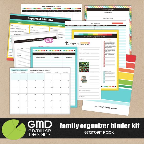 Printable Binder Sheets | 50% off today 9.5 » Gina Miller Designs  ***love these!  Great for Notability users too.  PDF versions can be imported via Dropbox and you can write on them with your stylus!