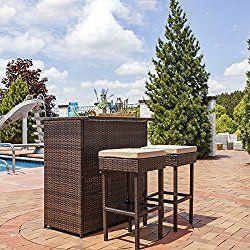 Sunnydaze Melindi 3-Piece Wicker Rattan Outdoor Patio Bar Set with Tan Cushions