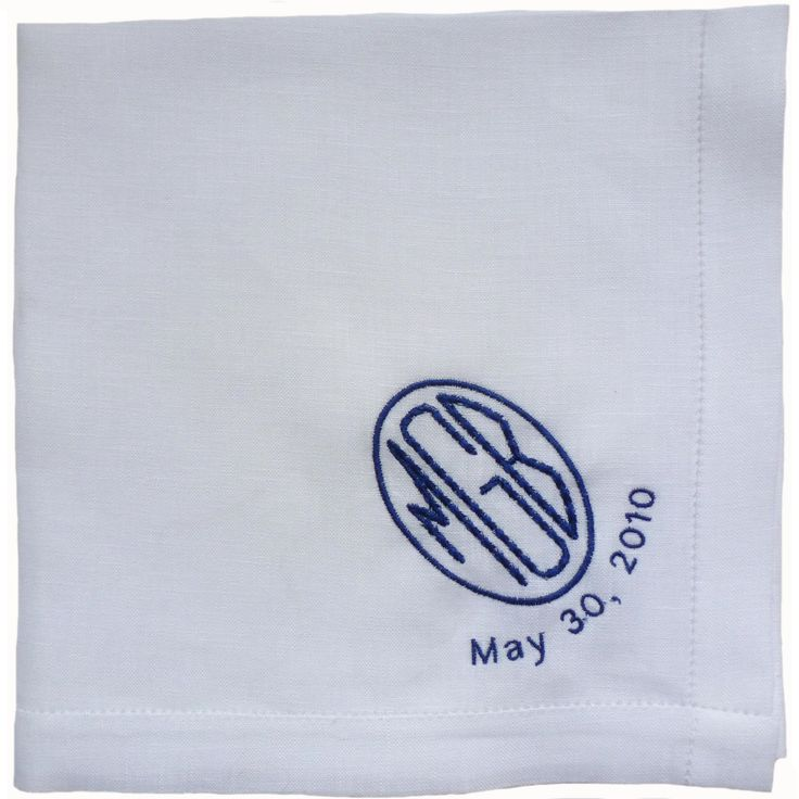 PERSONALIZED EMBROIDERED Monogrammed Man's Handkerchief with Added Date