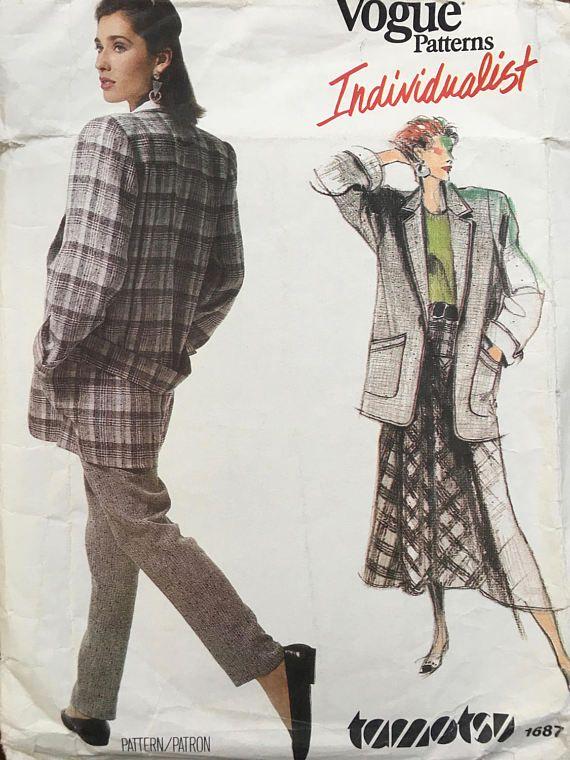 UNCUT Vogue Pattern 1687, TAMOTSU Jacket, Skirt, Pants -Bust 34 Size 12 structure shoulder pads 1980s