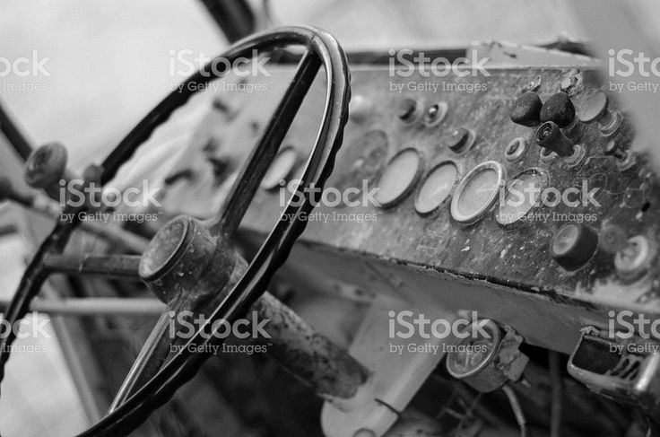bulldozer wreck dash panel black and white royalty-free stock photo