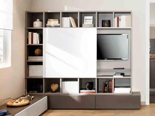 La télévision qui se cache - Où mettre la télé dans le salon ? - CôtéMaison.fr