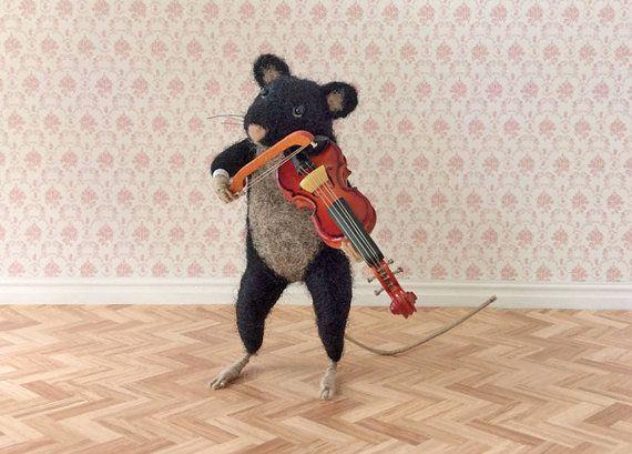 Needle Felt Mouse Miniature Violin Playing by GentlySpokenFriend