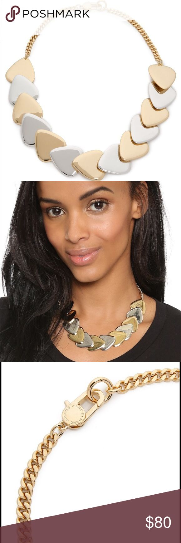 Marc by Marc Jacobs oro multi necklace Mixed-metal, plectrum-shaped links compose this Marc by Marc Jacobs choker necklace. Lobster-claw clasp.  Gold plate / rhodium plate. Imported, China.  Measurements Length: 16.75in / 42.5cm Marc by Marc Jacobs Jewelry Necklaces