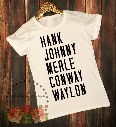 This listing is for a slightly tapered missy fit tshirt with a crew neck - featuring our (male) country music legends design. These shirts are