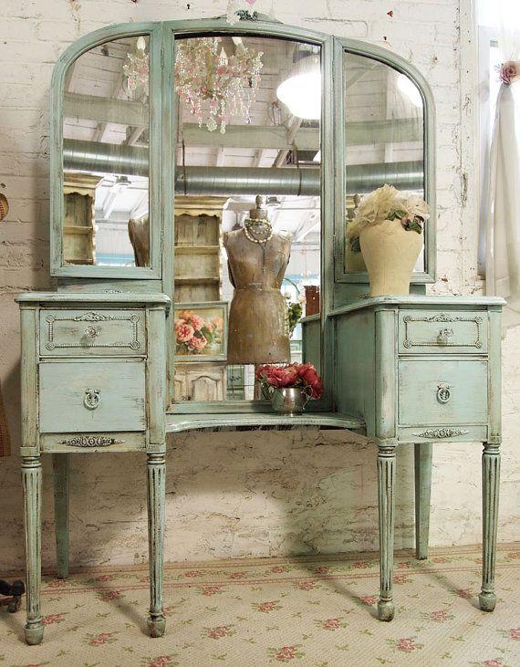 vintage aqua shabby chic triple mirror vanity...PaintedCottage(Etsy)