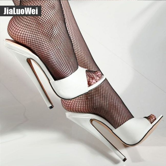 Summer Woman 18cm Thin Ultra High Heels Slipper Fetish Nightclub Women Sandals High Heeled Sexy Beach Shoes plus size 36-46 – stilettomules