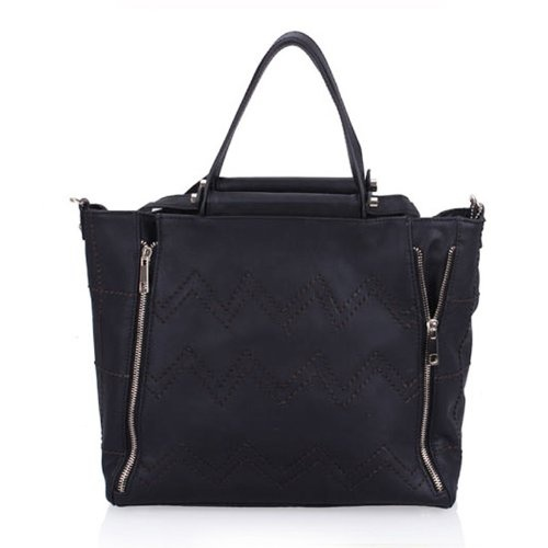 Korea Fashion Casual Fall Big Compaticy Bags Women Handbag Genuine Leather Tote Shoulder Bag With Wave Grain (Black) $77.0