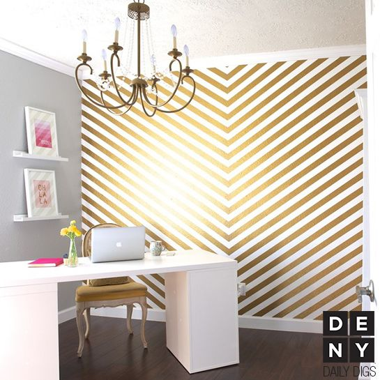 Golden Glam Office | Daily Digs. #laylagrayce #office #gold