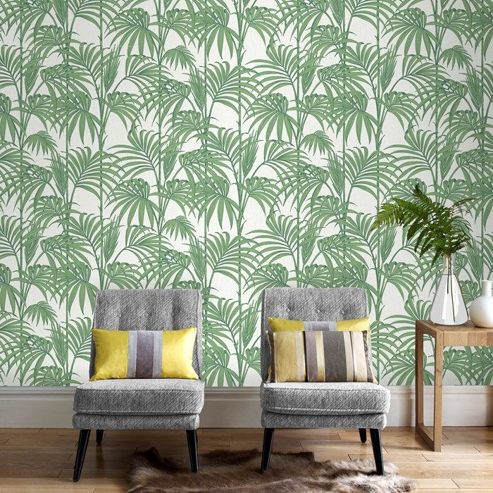 $85/roll Honolulu Palm Green Wallpaper by Graham and Brown