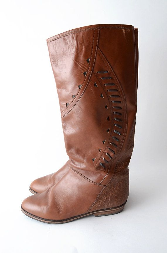 Vintage tan brown leather riding boots by #ZvezdanaVintage on Etsy, $72.00