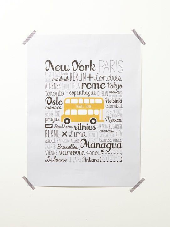 Affiche cities - Gris/jaune - 1